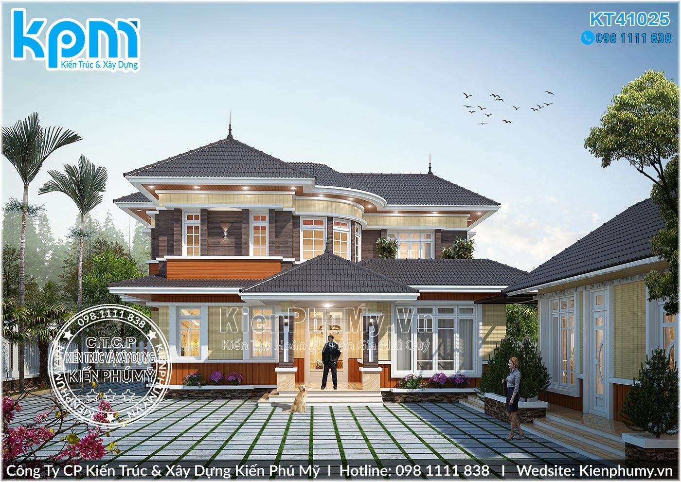thiết kế mặt tiền biệt thự mái thái 2 tầng tại thái bình
