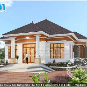 Mẫu nhà vườn mái thái 1 tầng đẹp 4 phòng ngủ tại Thái Bình