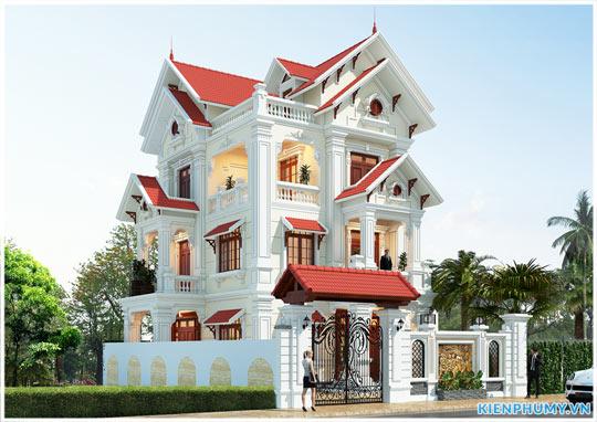 Mẫu nhà biệt thự 3 tầng kiến trúc cổ điển tại Quảng Ninh