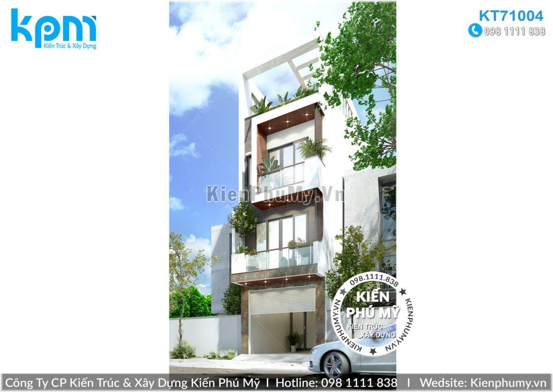 Nhà lô phố mặt tiền 4.5m kiến trúc 4 tầng hiện đại
