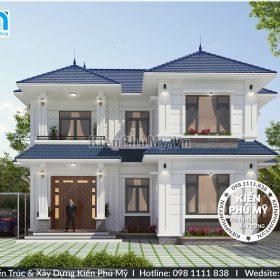 Kiến trúc mặt tiền căn nhà 2 tầng có diện tích mỗi sàn 90m2