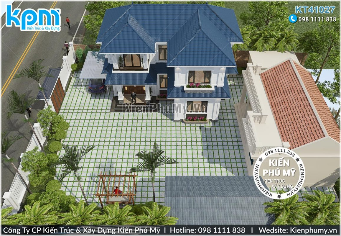 Thiết kế sân vườn mẫu nhà vườn 2 tầng 90m2