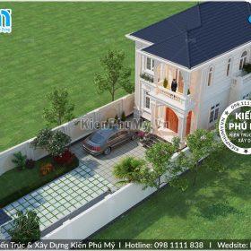 Thiết kế phối cảnh tổng thể biệt thự 2 tầng mái thái đẹp