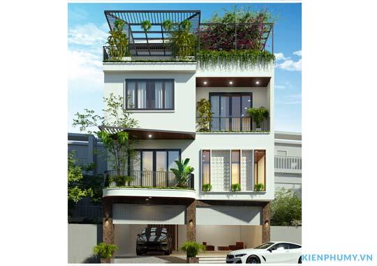 Mẫu thiết kế nhà biệt thự 3 tầng 1 tum kiến trúc hiện đại