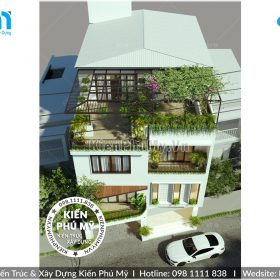 Thiết kế biệt thự 3 tâng 1 tum mặt tiền 9m tại Hà Nội