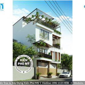 Thiết kế nhà 3 tầng 1 tum mặt tiền 9m đất chéo