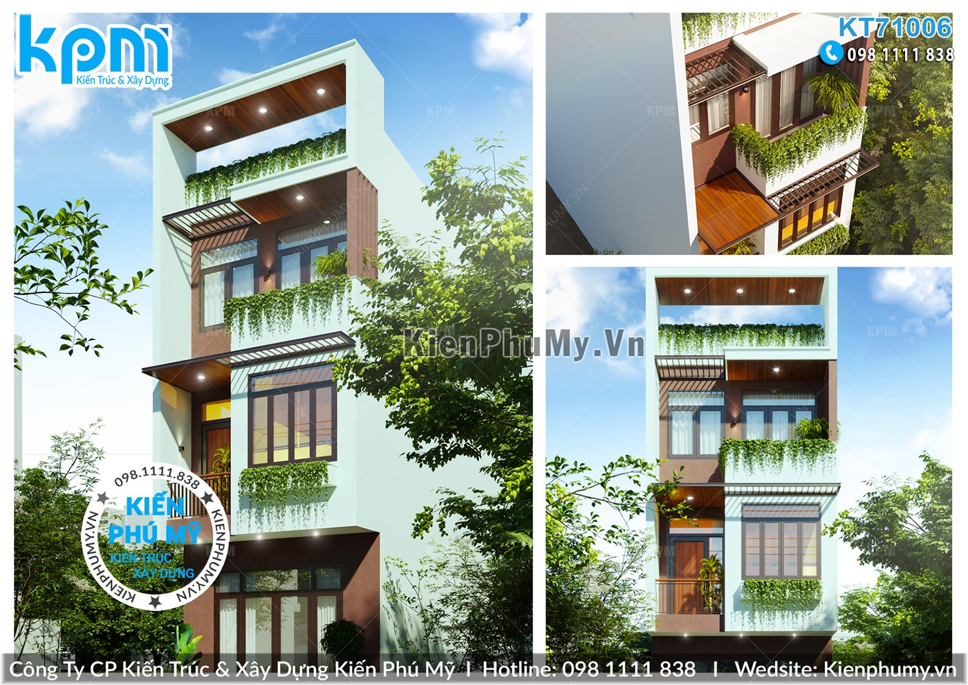Nhà lô phố 3 tầng 5x15mm kiến trúc hiện đại độc đáo