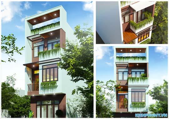 Mẫu nhà lô phố 3 tầng kiến trúc hiện đại mặt tiền rộng 5m