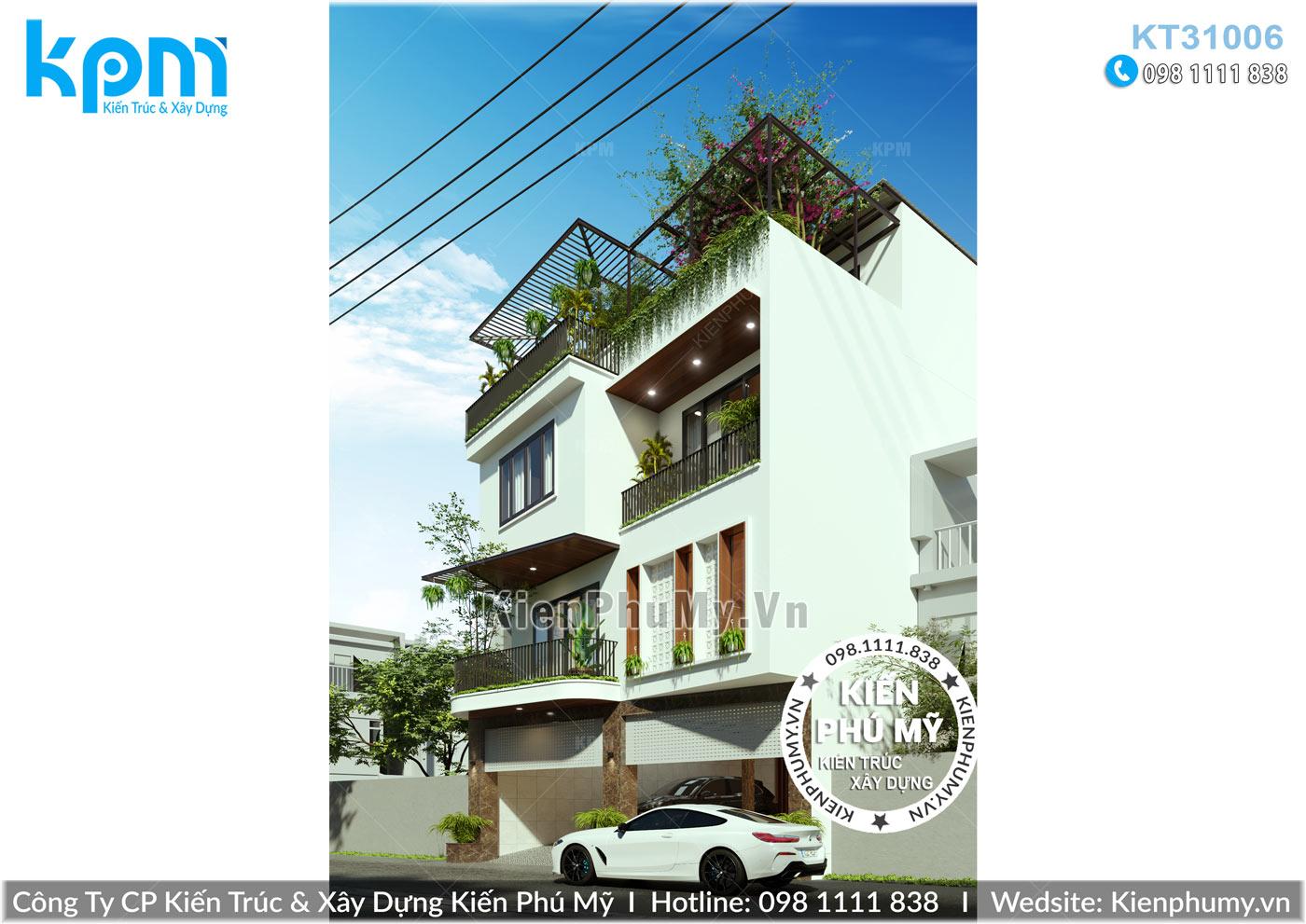 Mẫu nhà hiện đại 3 tầng 1 tum mặt tiền 9m đẹp