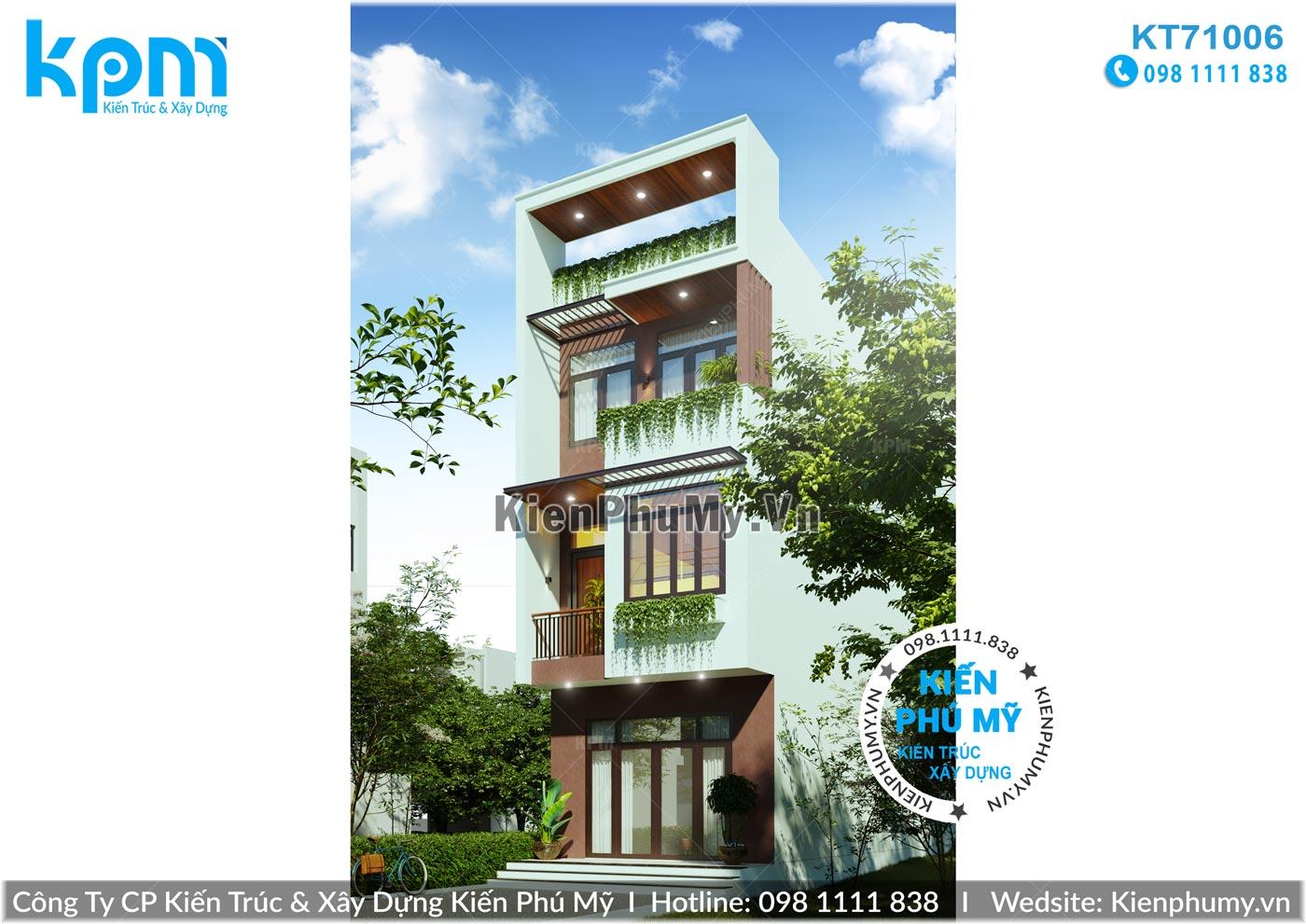Bản thiết kế nhà lô phố mặt tiền rộng 5m hiện đại