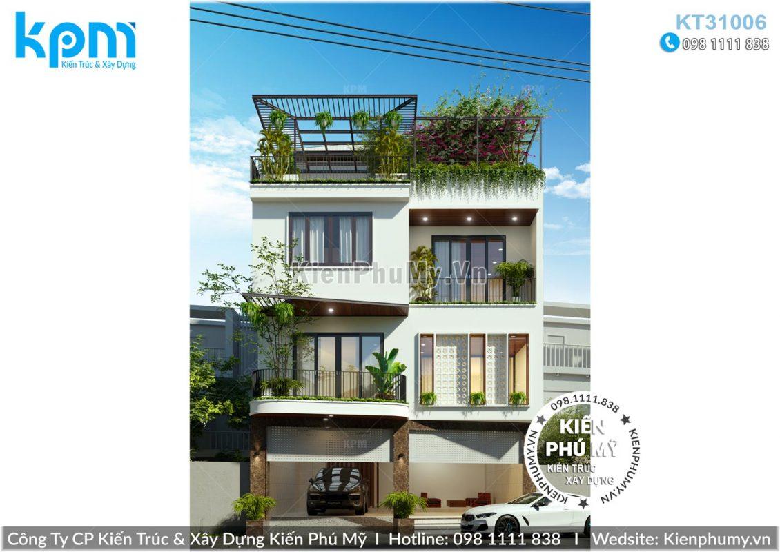 Mẫu nhà 3 tầng 1 tum mặt tiền 9m kiến trúc hiện đại sang trọng tại Hà Nội