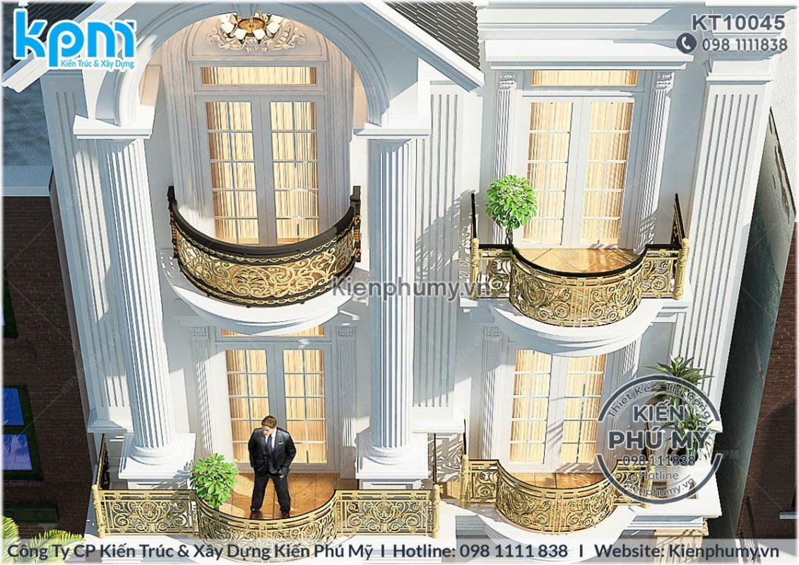 chi tiết ban công biệt thự 3 tầng cổ điển