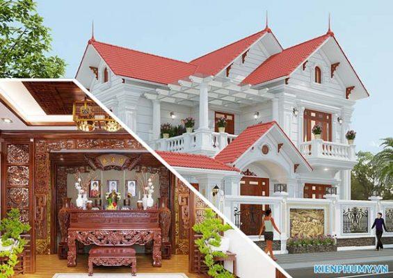 thiết kế nhà có gian thờ tầng 1